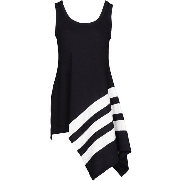 Y-3 Bold Stripe Tank found on Polyvore featuring tops, dresses, black, asymmetrical tank top, jersey tank, striped tank top, print top and jersey top