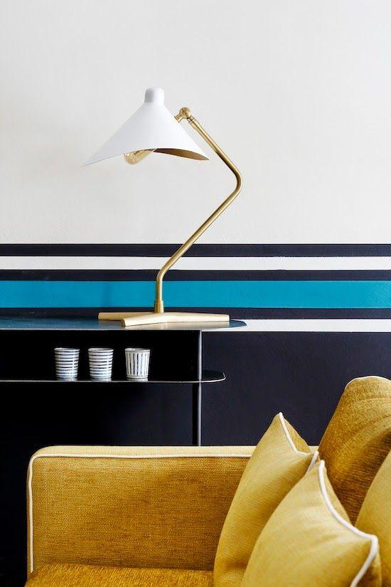 Parisian Panache, stripes, blue and black, white, mostard, interior colour, design