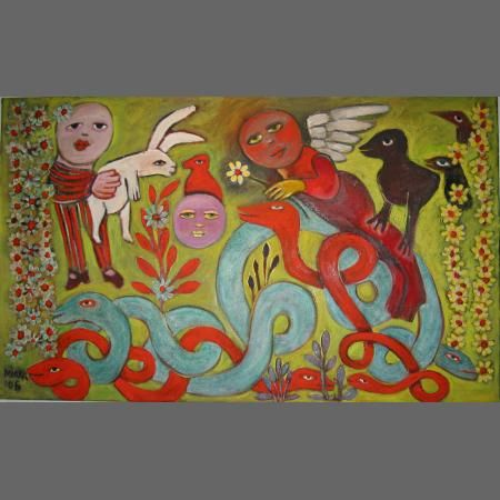 Smiling Angel In The Garden With Serpents, 2006 Complementary colours - that red serpent is like a saxophone solo against the khaki and jade greens.