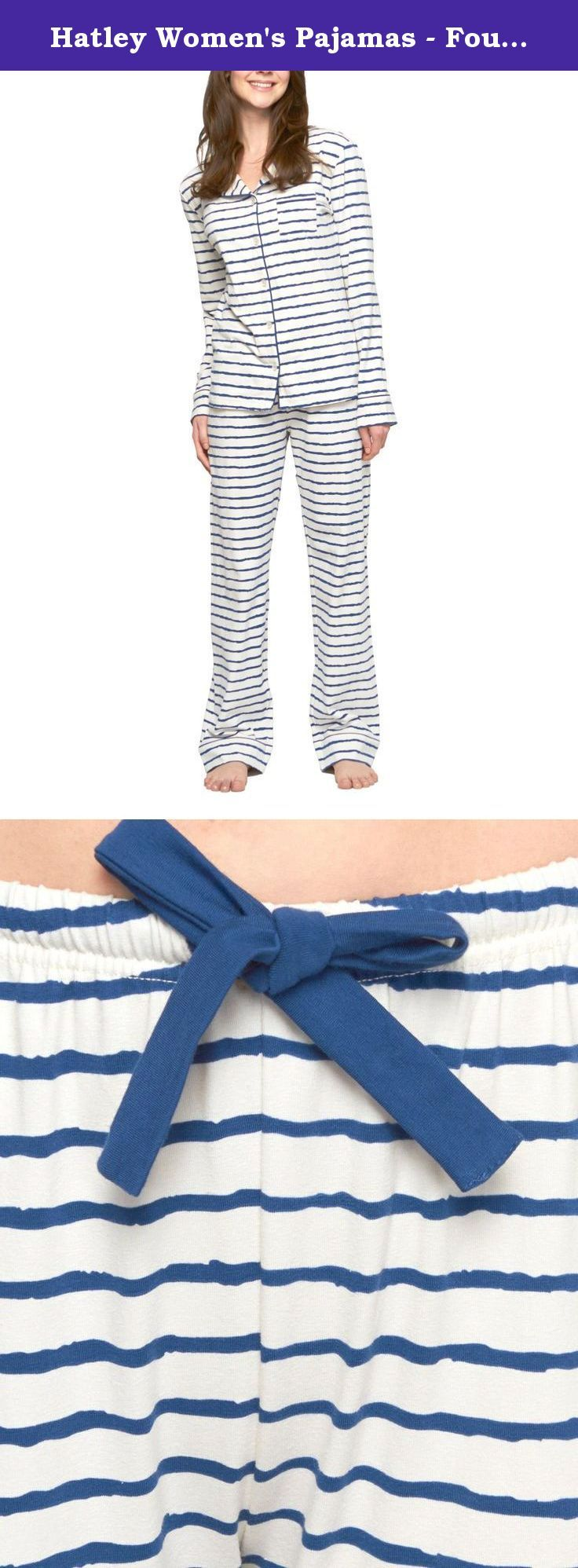Hatley Women's Pajamas - Four Great Looking Designs Navy Stripes Extra Large. Relax in style in these good looking Hatley pajama sets. Top features a button down closure with contrast piped collar. Twill tape drawstring elastic waist pant.