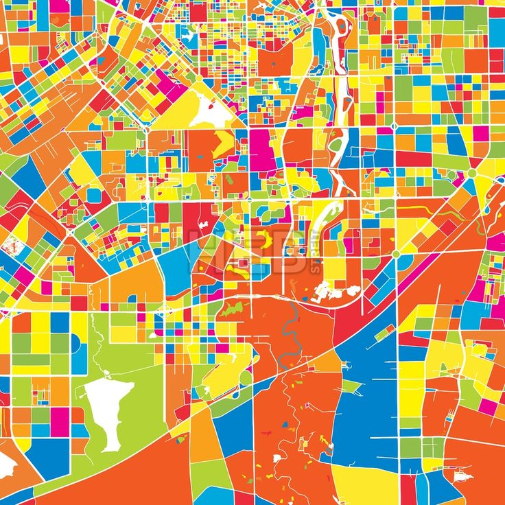 Changchun, China, colorful vector map.  White streets, railways and water. Various coloured shapes for landmarks and traffic. No information about nam... ... #map #downloadable #background #vector #design