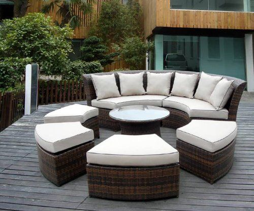Genuine Ohana Outdoor Patio Wicker Furniture 7pc All Weather Round Couch Set With Free Cover