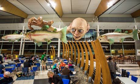 Catching the eye … Gollum of The Hobbit looms over visitors at Wellington airport in New Zealand.