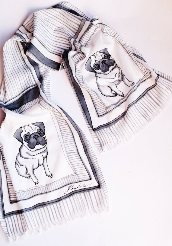Christmas Present Elegant Unisex Hand Painted Silk Cotton Dog Animal Lover Scarf with Dog Pug Black and White Fashion 16 X 55 Present