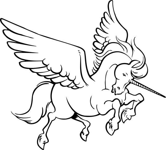Dibujo De Unicornios Con Alas Para Colorear E Imprimir05 Ben E Holly Folhas Lugares