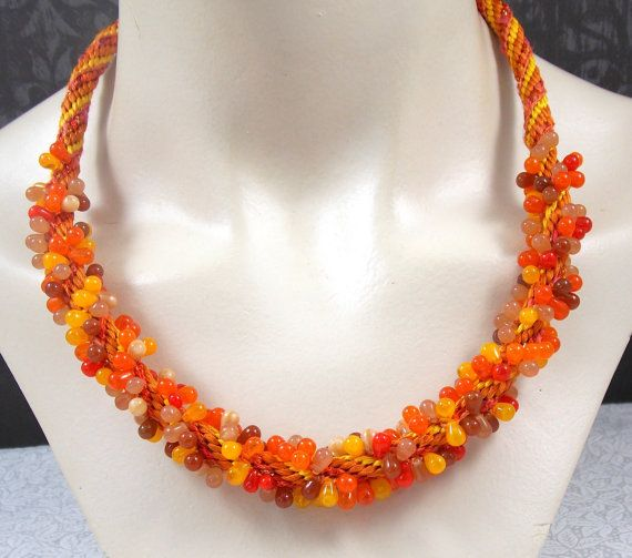 Kumihimo Beaded Necklace in Shades of Orange by RedsArtJewelry, $35.00