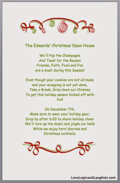 Christmas Open House 2013 - Invitations. Christmas Invitations with a fun rhyming jingle.