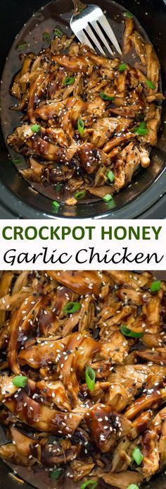 Slow Cooker Honey Garlic Chicken. Slow cooked chicken in a sweet and tangy Asian inspired sauce. | chefsavvy.com
