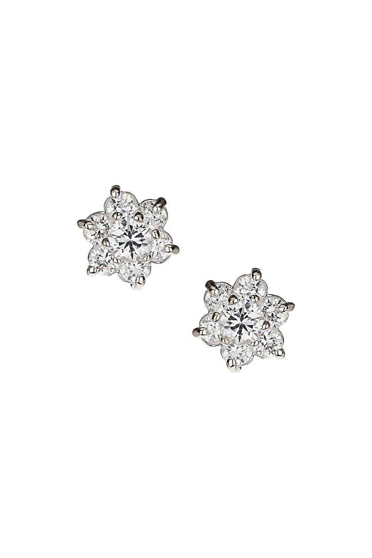 Premium Flower Cubic Zirconia Stud Earrings - Jewellery - Bags & Accessories - Topshop