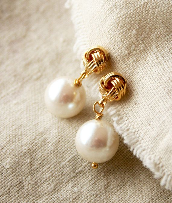 Vintage Pearl Earrings, Bridal Jewelry, Pearl Post Earrings. $48.00, via Etsy.