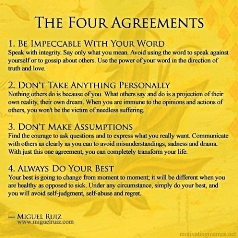 The Four Agreements is an inspirational book by Miguel Ruiz sharing Toltec wisdom. www.miguelruiz.com