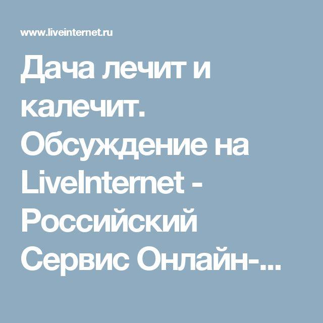 Дача лечит и калечит. Обсуждение на LiveInternet - Российский Сервис Онлайн-Дневников