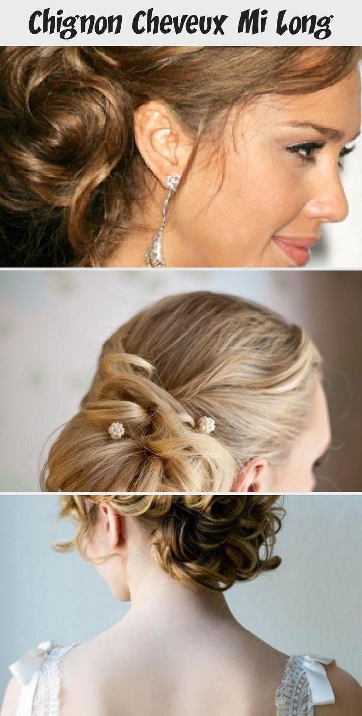 chignon cheveux mi long   Coiffure simple et facile #cheveuxmilongBleu #cheveuxmilongBrunFonce # ...