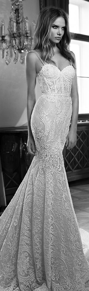 berta fall 2015 gorgeous mermaid wedding dress sweetheart neckline illusion double row with beaded straps #mermaidweddingdress #weddingdresses