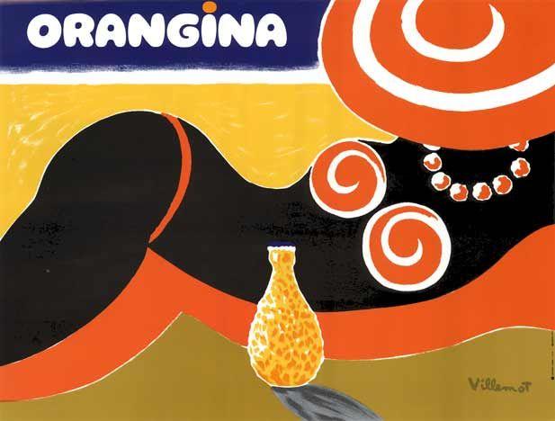 Orangina vintage advertsing poster art by Bernard Villemot