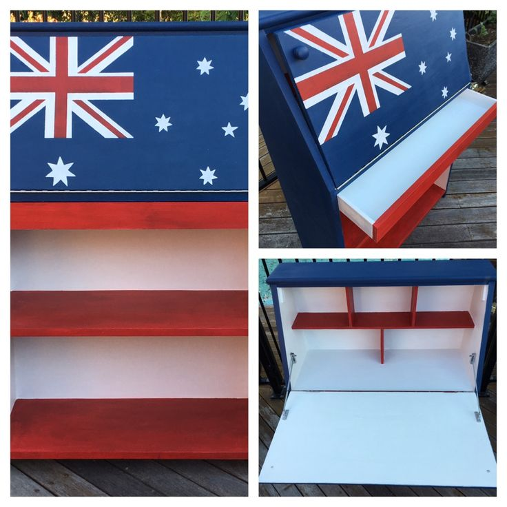 Australian Flag themed Drop-Front Desk, Bureau, Secretaire. Annie Sloan Chalk Paint 'Napoleonic Blue' and 'Emperor's Silk' with Rustoleum 'Linen White'.