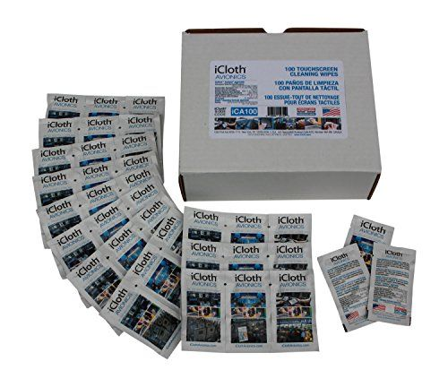 100 iCloth Avionics Touchscreen Wipes (iCA100) Clean EFB & iPad Touchscreens, GPS & HUD Displays, Laptops & Monitors - 100 Large Wipes iCloth - Made in USA #amazon