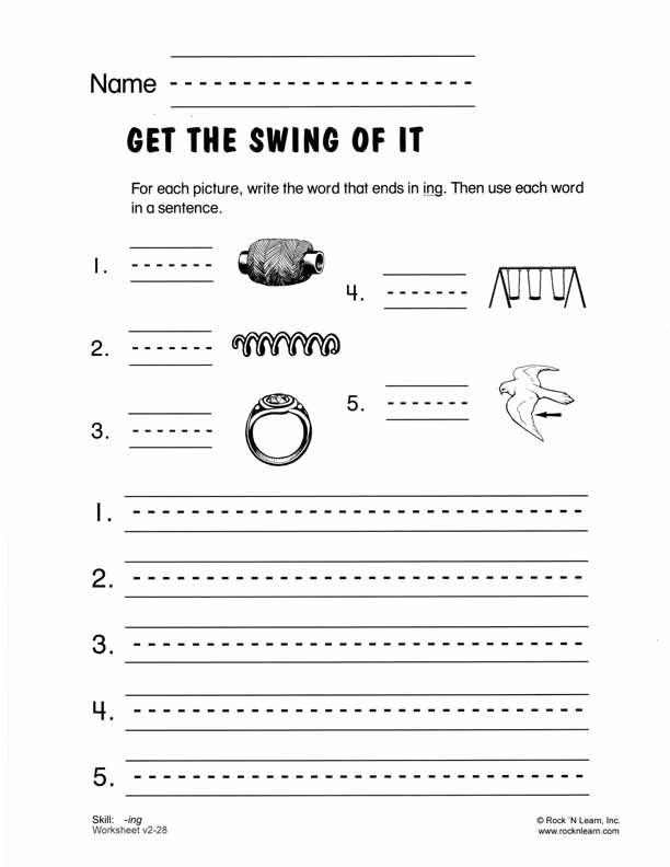 Ing Free Phonics Worksheet Consonant Blends