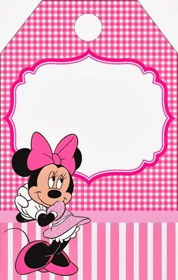 Minnie Pink Squares Free Printable Candy Bar Labels.