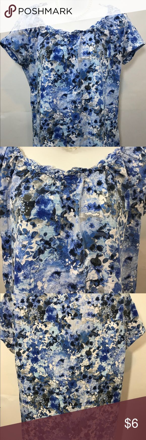 """St Johns Bay Women's Pullover Top Size Large St Johns Bay Women's Pullover Top Size Large  Paisley look  Blue and white color  Measurements are approximately and laying flat, nothing doubled  Armpit to armpit 21""""  Length from top back to bottom of shirt 24""""  necklace not included   B1 Tops Blouses"""