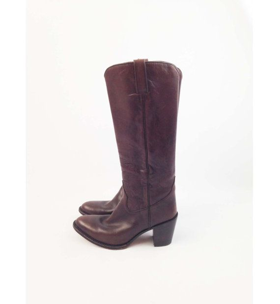 Vintage Dark Brown Western Boots for Women - Cowgirl Boots w/ Stacked Heel by Tony Mora - Size EU 39 US 8 to 8.5