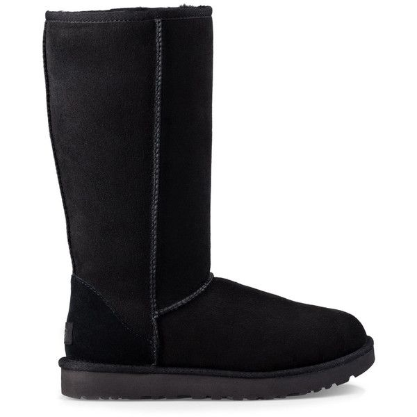 Ugg ® Classic Tall Ii Tall Suede Boot ($200) ❤ liked on Polyvore featuring shoes, boots, black, ugg footwear, black suede boots, black shoes, kohl shoes and ugg boots