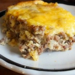 LOW CARB CHEESEBURGER BAKE 2 lbs ground beef 5 strips bacon, chopped 16 oz frozen cauliflower Butter Salt pepper Garlic powder 1 egg 8 oz shredded cheese Brown beef bacon. Add egg 3/4 of cheese. Meanwhile, cook cauliflower until tender then add salt, pepper, garlic powder, butter. Mash cauliflower. Put cauliflower in a greased 2-qt casserole dish. Spread meat mixture over cauliflower. Top with remaining cheese. Bake @ 350º for 35 min. 6 servings 487 calories, 2 net carbs