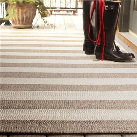 Neutral Striped Indoor Outdoor Rug