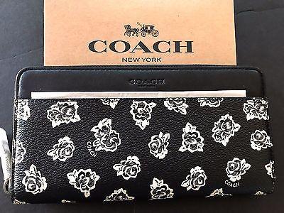 NWT Coach Men $250 Accordion Floral Coated Canvas Black Zip Around Clutch F57804