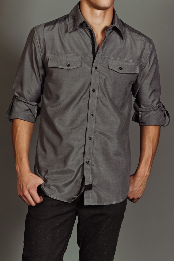 arsnl reese l/s woven shirt grey...so simple I love it: Woven Shirts, Shirts Style, Buttons Up, Grey Buttons, Men Fashion, Shirts Grey, Cool Shirts, Style Fashion, Grey Shirts