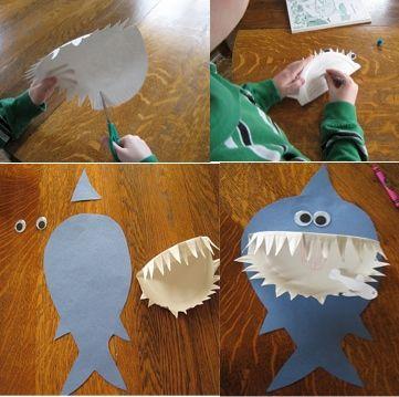 ¡Menudo tiburón!: ¡Qué manualidad más marina…