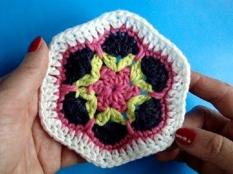 Вязание крючком Урок 248 Шестиугольник Crochet hexagon motif - YouTube