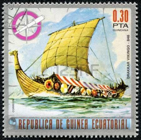 EQUATORIAL GUINEA - CIRCA 1974 Mail stamp printed in Equatorial Guinea ship…