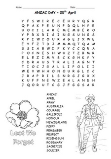 Anzac Day Wordfind (downloadable PDF on the blog)