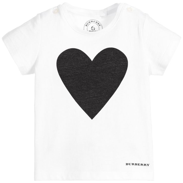 Burberry Baby Girls White Cotton T-Shirt & Black Heart at Childrensalon.com
