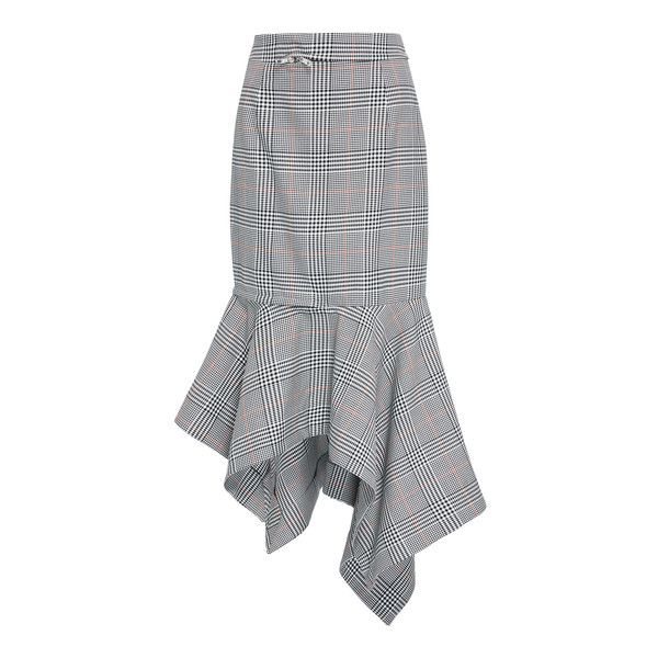 MONSE Glen Plaid Zip Trumpet Skirt ($890) ❤ liked on Polyvore featuring skirts, zip skirt, high rise skirts, high-waisted skirts, knee length skirts and high waist skirt