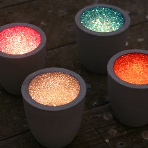 Glitter candle holders, so cute! just paint the inside with a matte color and while wet  apply same color glitter.