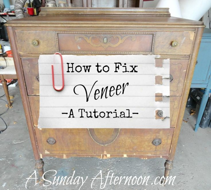 How to Fix Veneer that is chipping - to paint it afterward!  This is not to keep it in its original antique finish.