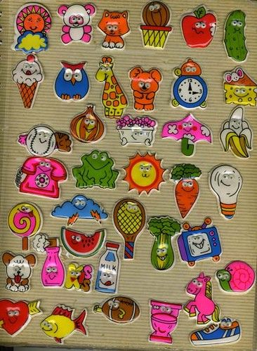 collecting puffy stickers in sticky photo albums!