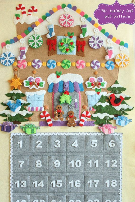 DIY Felt gingerbread house advent calendar sewing pattern.