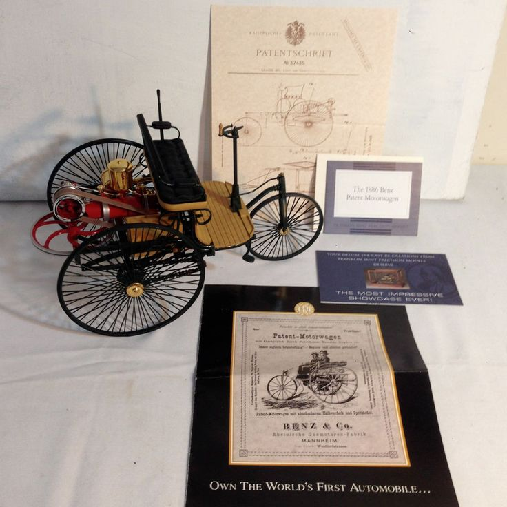 The World S First Automobile The Benz Patent Motorwagen: FRANKLIN MINT 1886 BENZ PATENT MOTORWAGEN 1/8 Model SCALE