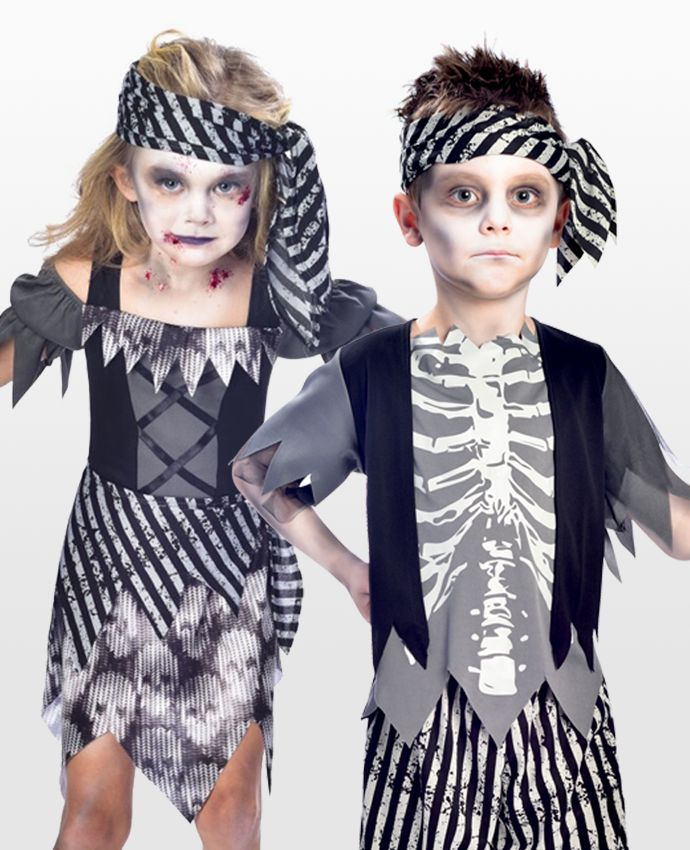 These ghost pirate costumes make a brilliant sibling Halloween costume idea. Pick them up at partydelights.co.uk.