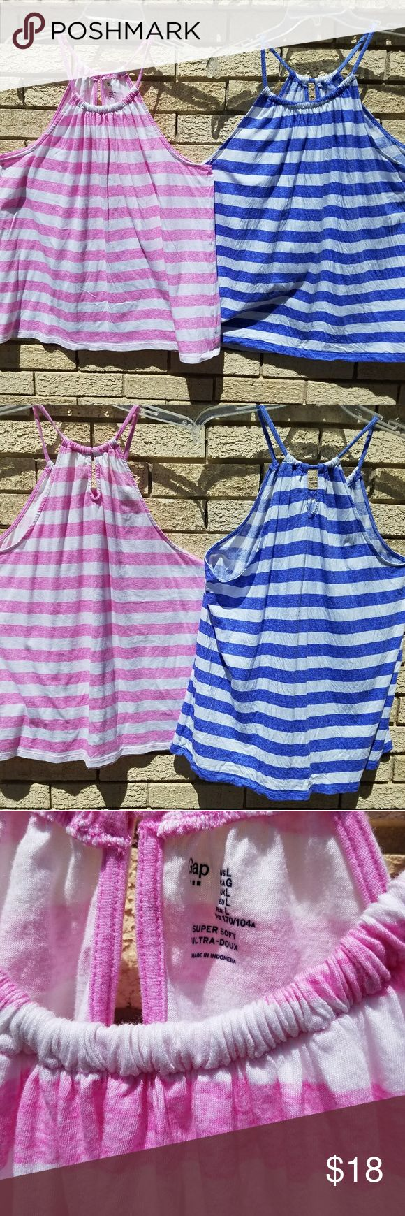 SET of 2 sleeveless Gap Shirts Size Large Tank Ladies Juniors 2 sleeveless Gap Shirts Size Large . Pretty blue and white striped and other is pink and white striped. These are perfect for Spring and summer! GAP Tops Tank Tops