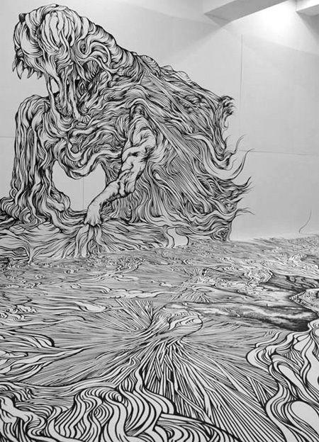 Japanese artist Yosuke Goda covered entire room with creative drawings.