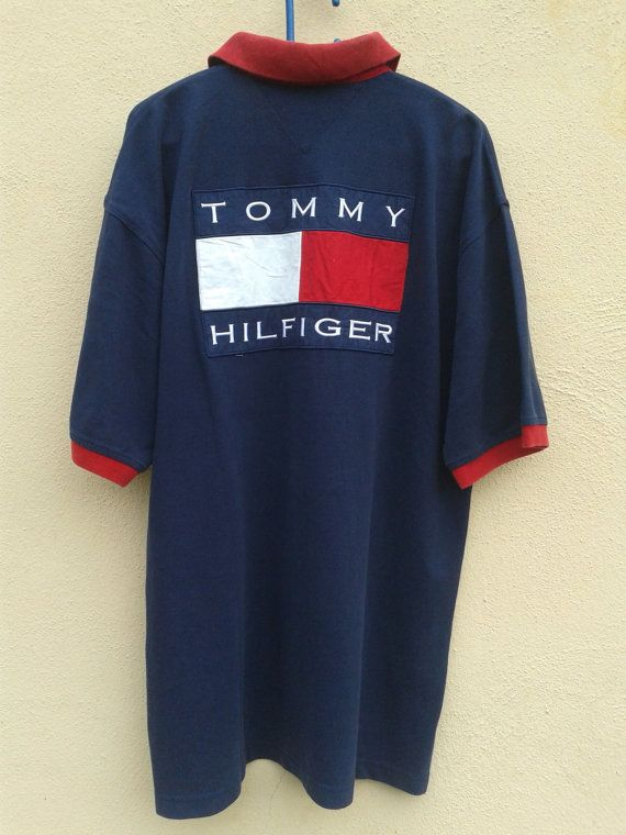 rare vintage tommy hilfiger big flag polo shirt xl by. Black Bedroom Furniture Sets. Home Design Ideas