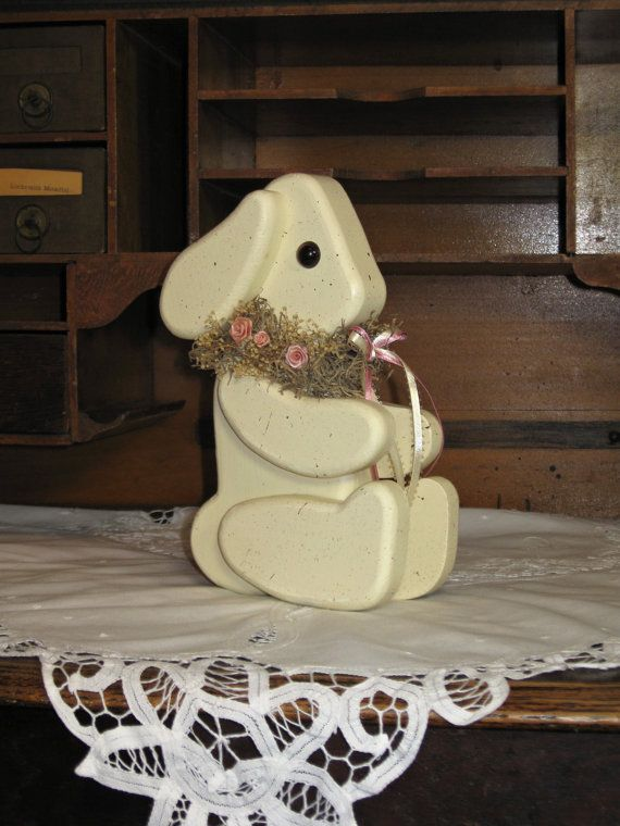 Handmade Wooden Jointed Easter Bunny/Spring by TheCountryTouch