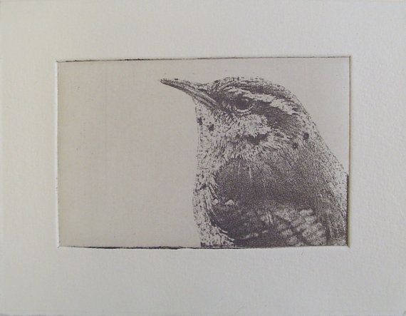 original etching of a bird headhand pulled by Fleurografie on Etsy, $9.49