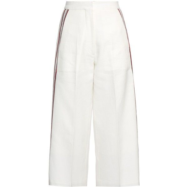 Hillier Bartley Striped wide-leg track pants ($382) ❤ liked on Polyvore featuring activewear, activewear pants, trousers, white multi, hillier bartley, white track suit, track pants, white tracksuit and track suit