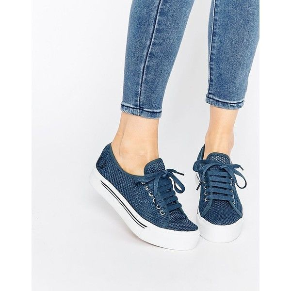 Fred Perry Phoenix Flatform Mesh Plimsoll Trainers ($86) ❤ liked on Polyvore featuring shoes, sneakers, navy, navy shoes, chunky sneakers, grip trainer, lacing sneakers and chunky shoes