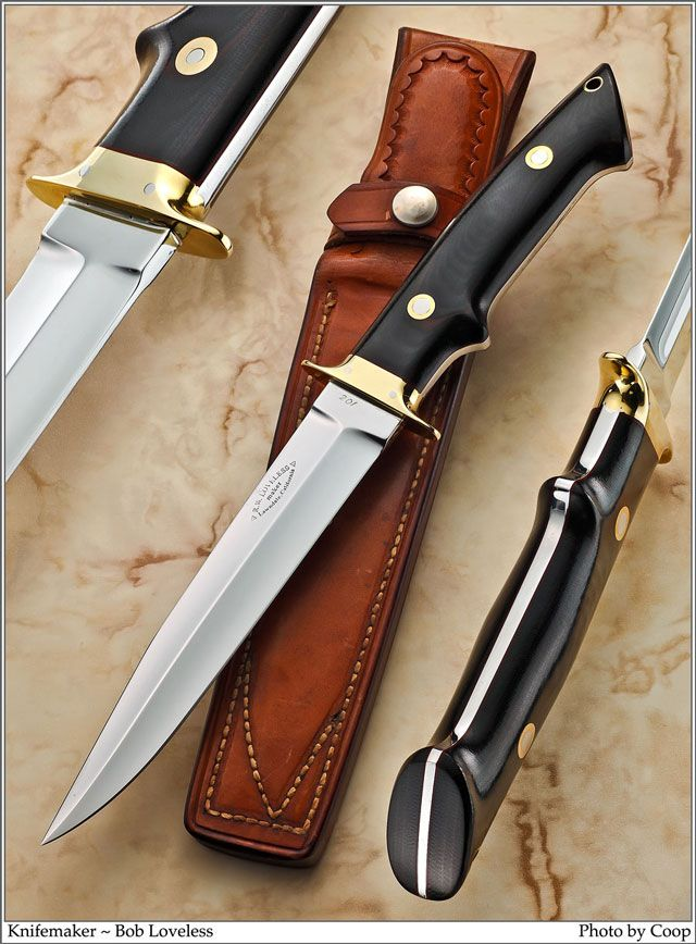 An early Robert W. Loveless fighter in brass and black Micarta. Simply spectacular. I'm told there were only four of this pattern ever made.